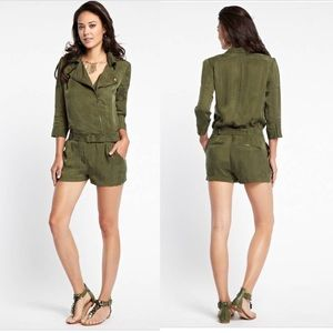 Guess olive 3/4 sleeve military moto shorts romper